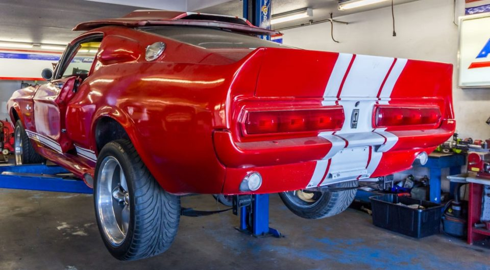 Red and White Shelby Cobra on the Rack